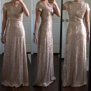 Adrianna Papell matte rose gold sequin formal gown